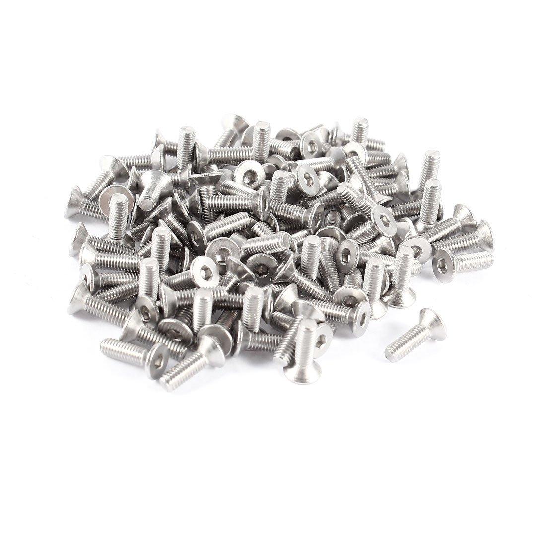 sourcingmap® 100 Pcs 304HC Stainless Steel Countersunk Flat Head Bolt Screw M3x10mm a14051300ux0158