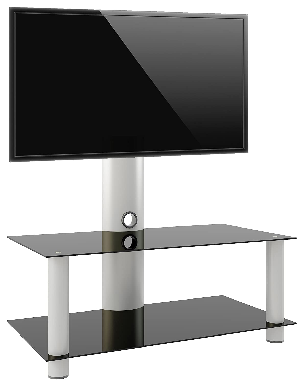 Vcm 14195 Valeni Maxi Meuble Tv Avec Support Aluminium Verre  # Meuble Tv Verre Noir