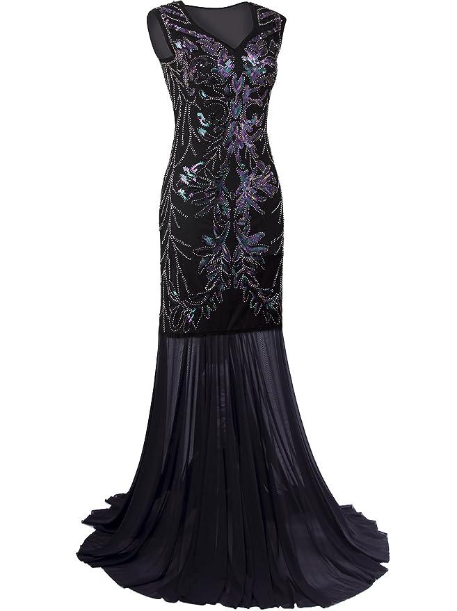 Vijiv 1920s Long Prom Dresses V Neck Beaded Sequin Gatsby Maxi Evening Dress: Amazon.co.uk: Clothing