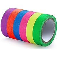 6 Pack Neon Tape Super Heldere Lichtgevende Tape UV Blacklight Tape 15mm x 5m Kenmerken Glow in The Dark Tape Gekleurde…