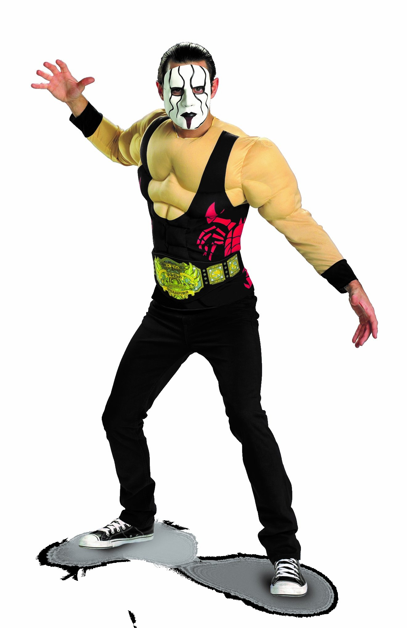 Disguise TNA Wrestling Sting Essential Muscle Adult Costume, Black/Red/Tan/Green, X-Large/42-46