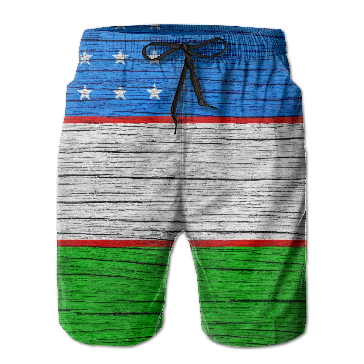 HFSST Uzbekistan Wooden Texture Uzbek Flag Men Kid Male Summer Swimming Pockets Trunks Beachwear Asual Shorts Pants Mesh