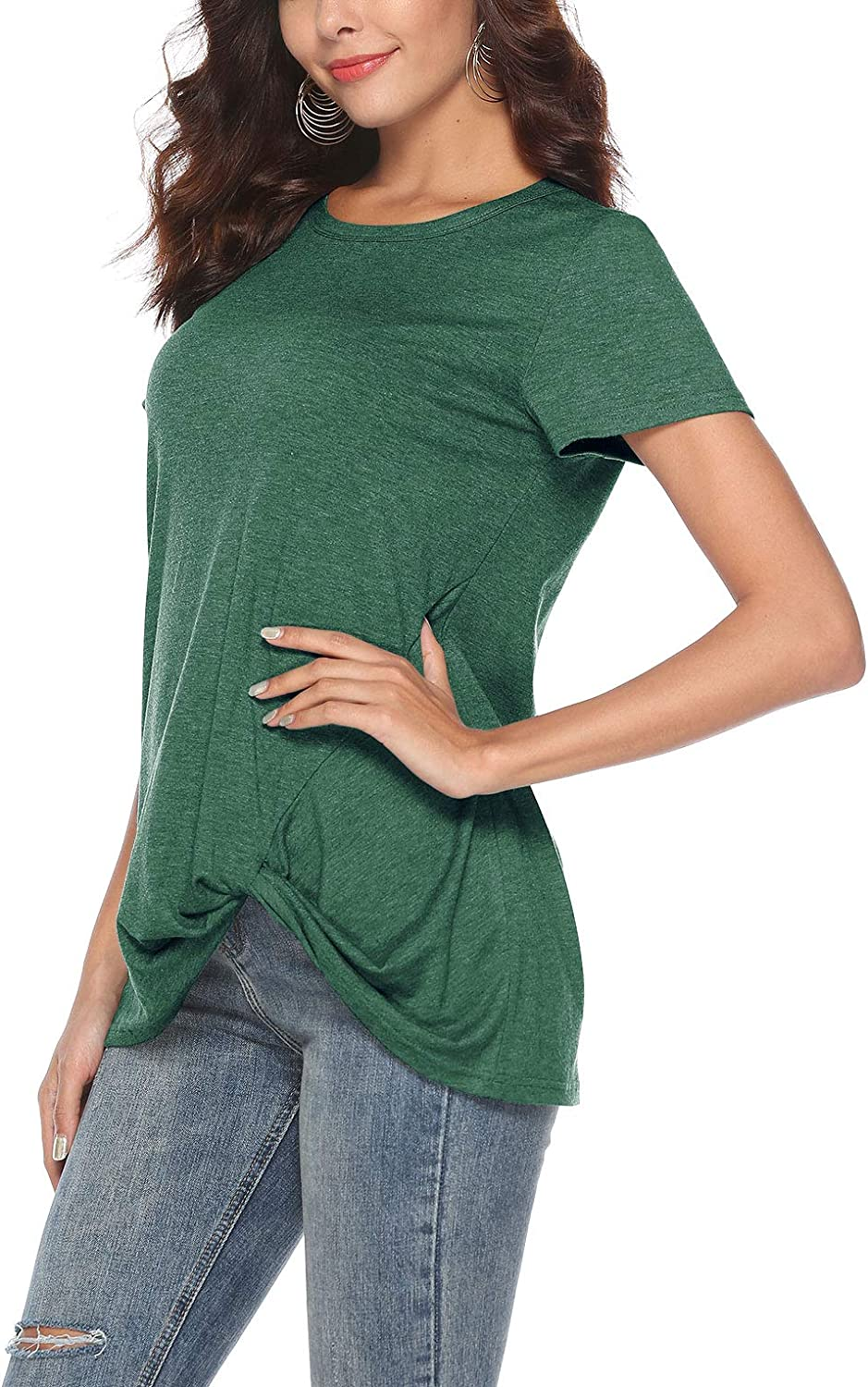 Womens Casual Short Sleeve Solid T Shirts Twist Knot Tunics Tops Blouses