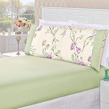 02638beef5 Jogo de Cama Naturale Floral Verde Solteiro Micropercal 200 Fios 02 Peças