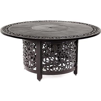 Marvelous Lakeview Outdoor Designs 40000 BTU Patio Propane Fire Pit Chat Table,  52u0026quot;, Antique
