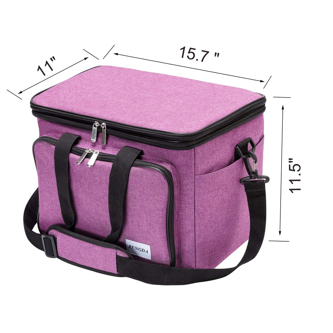 BENGDA Knitting Bags and Totes,Crochet Yarn Organizer with Inner Divider for Knitting Needles,Project and Supplies,Easy to Carry, High Capacity (Purple with Cover) by BENGDA (Image #2)
