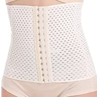 Sweetlover Women Waist Trainer Hook Eye Mesh Air Hole Cincher Corset Weight Loss Short Body Shaper Latex Tummy Controller