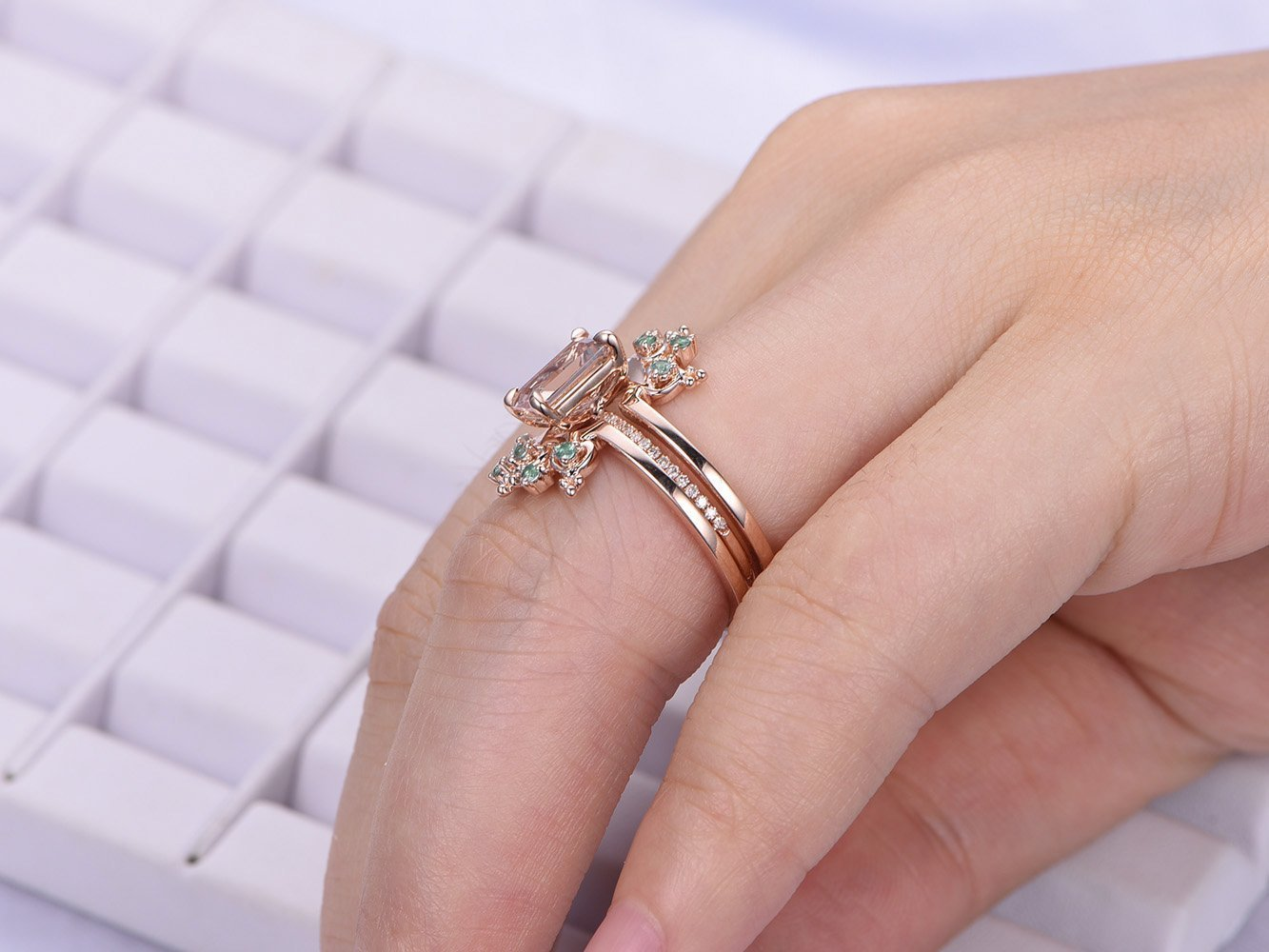 Amazon.com: Emerald Cut Morganite Engagement Ring Set Alexandrite ...