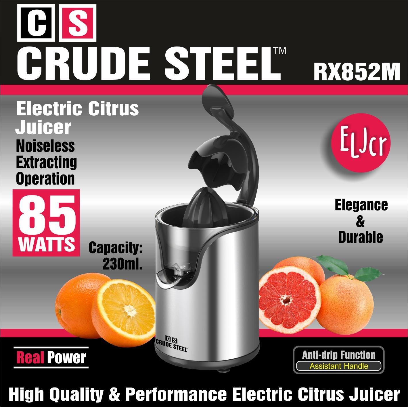 CRUDE STEEL™ Exprimidor Eléctrico 85W / Bajo Nivel de Ruido / Con Brazo Ayudante / RX852M: Amazon.es: Hogar