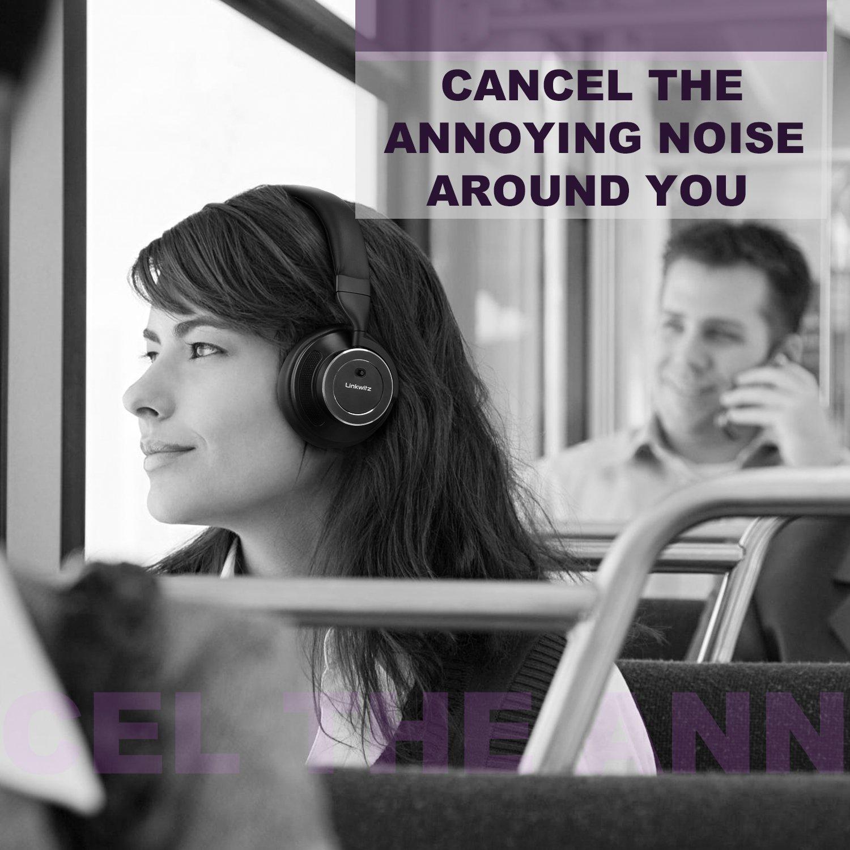 af1f97b54ef LinkWitz Noise Cancelling Kopfhörer Bluetooth Bügelkopfhörer mit aktiver  Rauschunterdrückun, Hi-Fi Stereo Sound und Tiefbass Over-Ear Headset,eingebautem  ...
