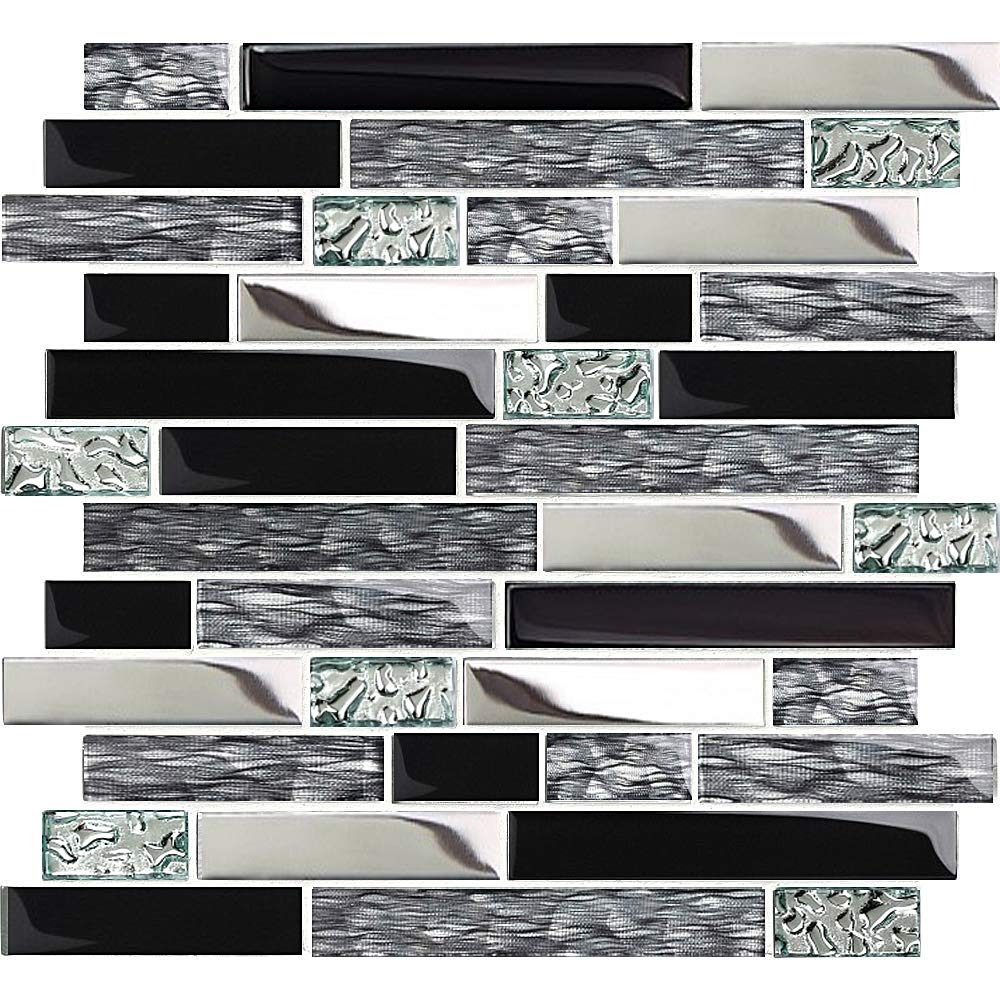 TST Glass Metal Tiles Art Mosaic Silk Black Crystal Glass Chrome Silver Steel Accent Wall Border Kitchen Bath Backsplash Tile TSTNB12 (10 Square Feet) by BLUJELLYFISH