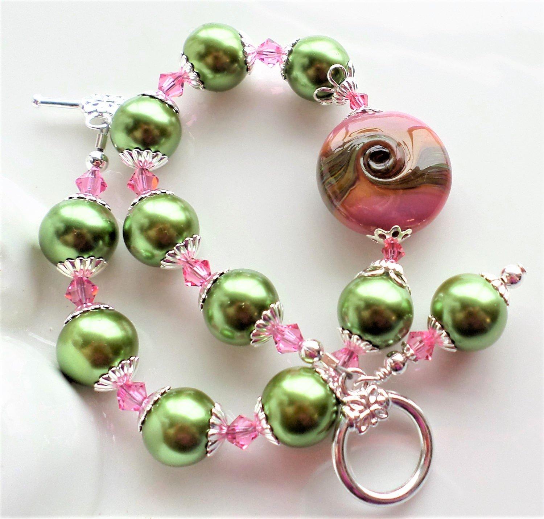 Pink Green Lampwork Glass Pearl Bracelet