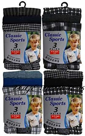 12 Pairs Of Boys Kids Check Boxer Shorts Easy Care Boxers Underwear 9-15 Years