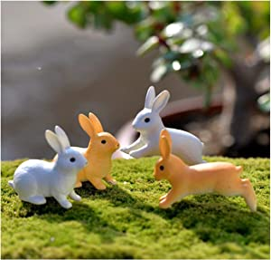 Wonderland Statue 7 Pcs Cute Anime Rabbit Garden Ornament Cute Miniature Figurine Fairy Synthetic Resin Hand-Painted Animal Fairy Garden Decor (4 PCSC)