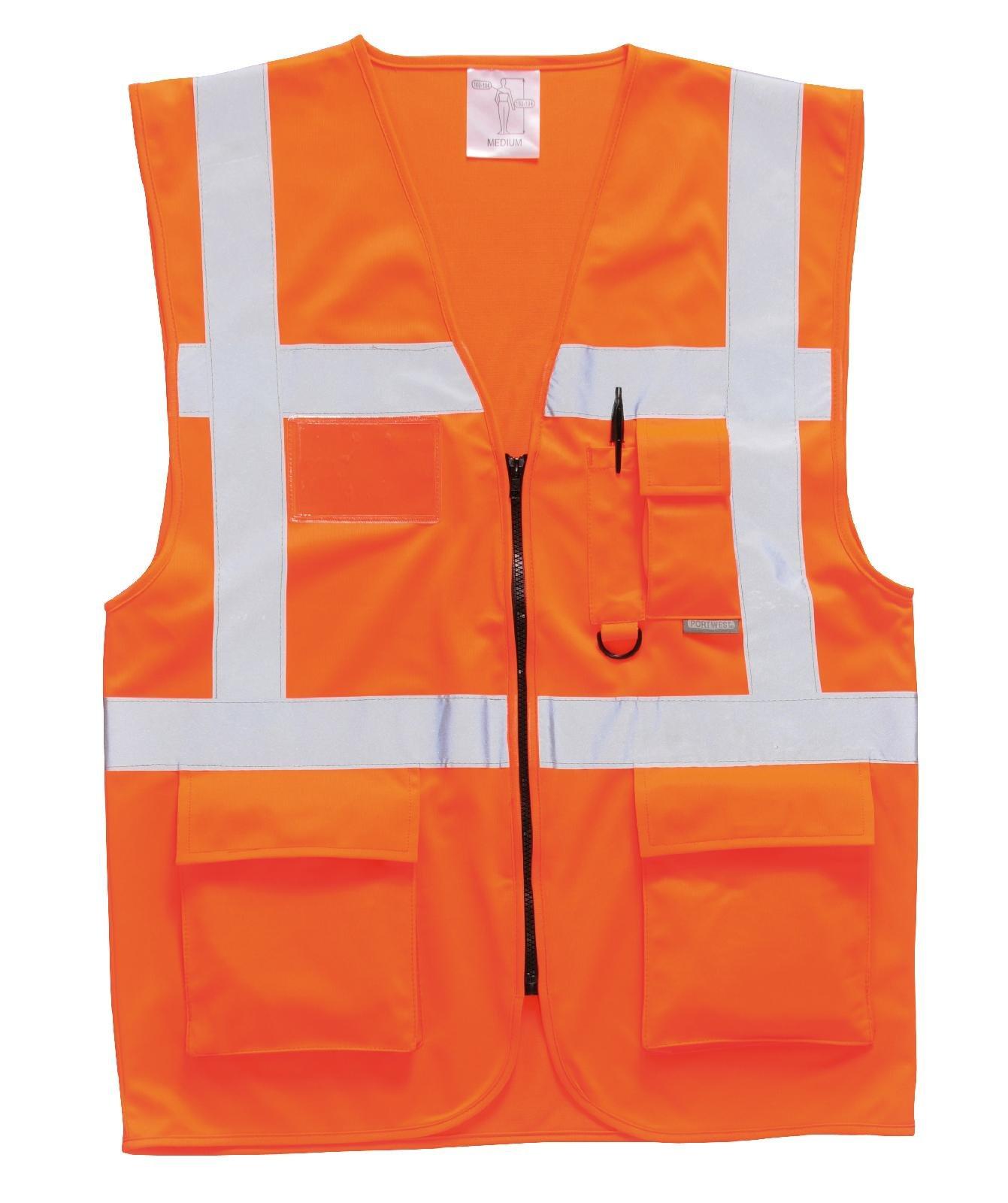Portwest Workwear Mens Berlin Executive Vest Orange Small