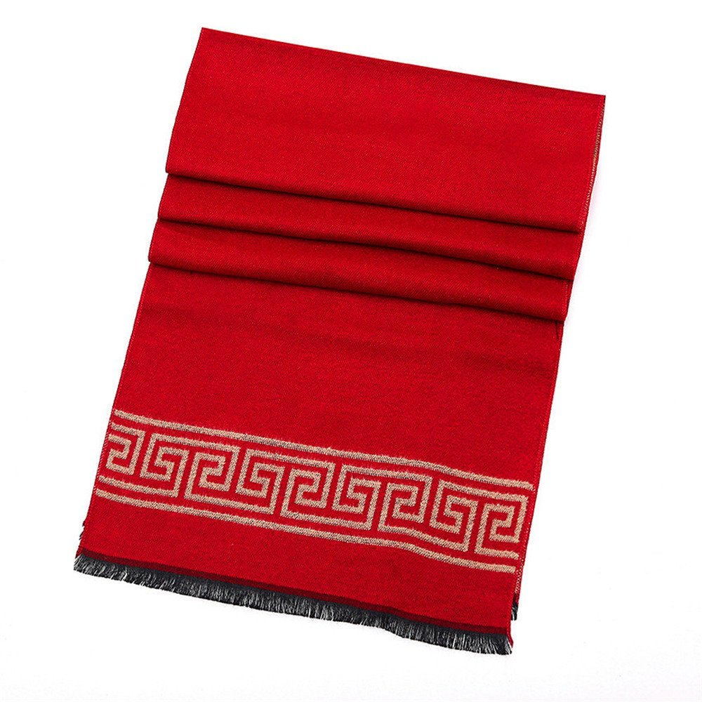High-grade Men's Cashmere-like Scarf Business Warmer Shawl Classic Geometry Pattern Soft Double Color Fashion Scarves Shawl Winter Fall Summer Birthday Valentine's Day Gift