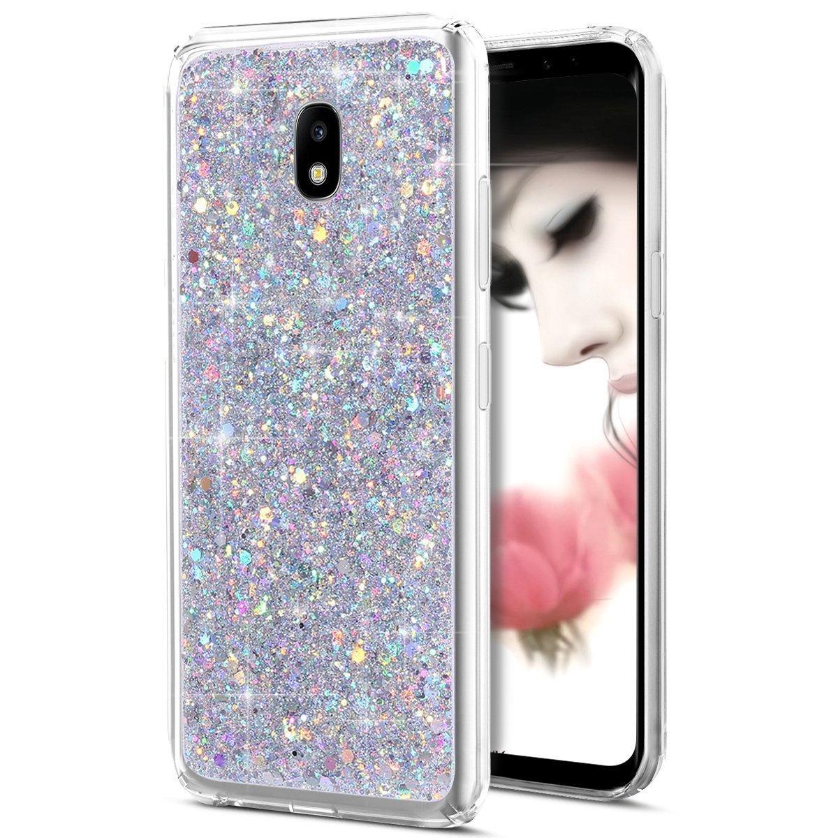 Custodia Galaxy J7 2017, Cover Galaxy J7 2017, Galaxy J7 2017 Custodia Glitter, Uposao Lusso Bling Glitter Strass Diamante Cristallo Clear Silicone Gel TPU Cover per Samsung Galaxy J7 2017-(d'oro) PYHT001786