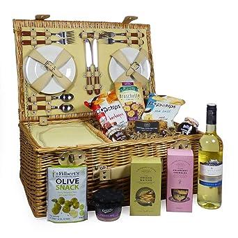Cesta de picnic de mimbre Sutton para 4 personas con vino ...