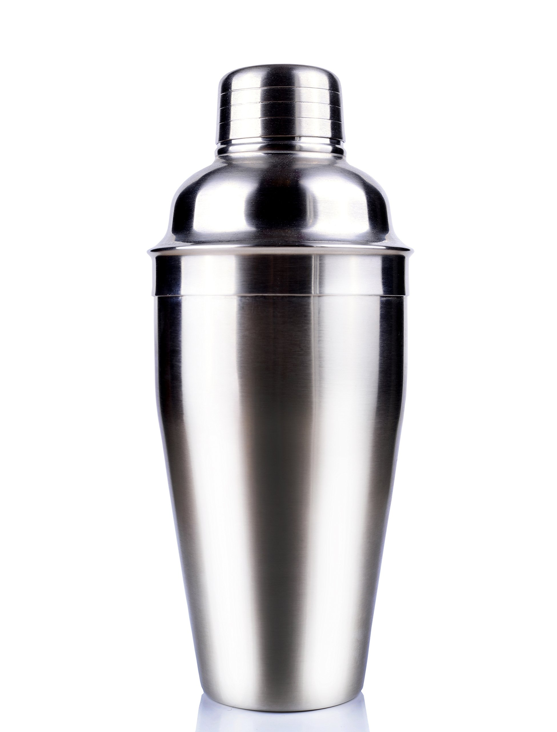 HIC Cocktail Shaker, Stainless Steel, Mirror Finish, 3-Piece Set, 18-Ounces