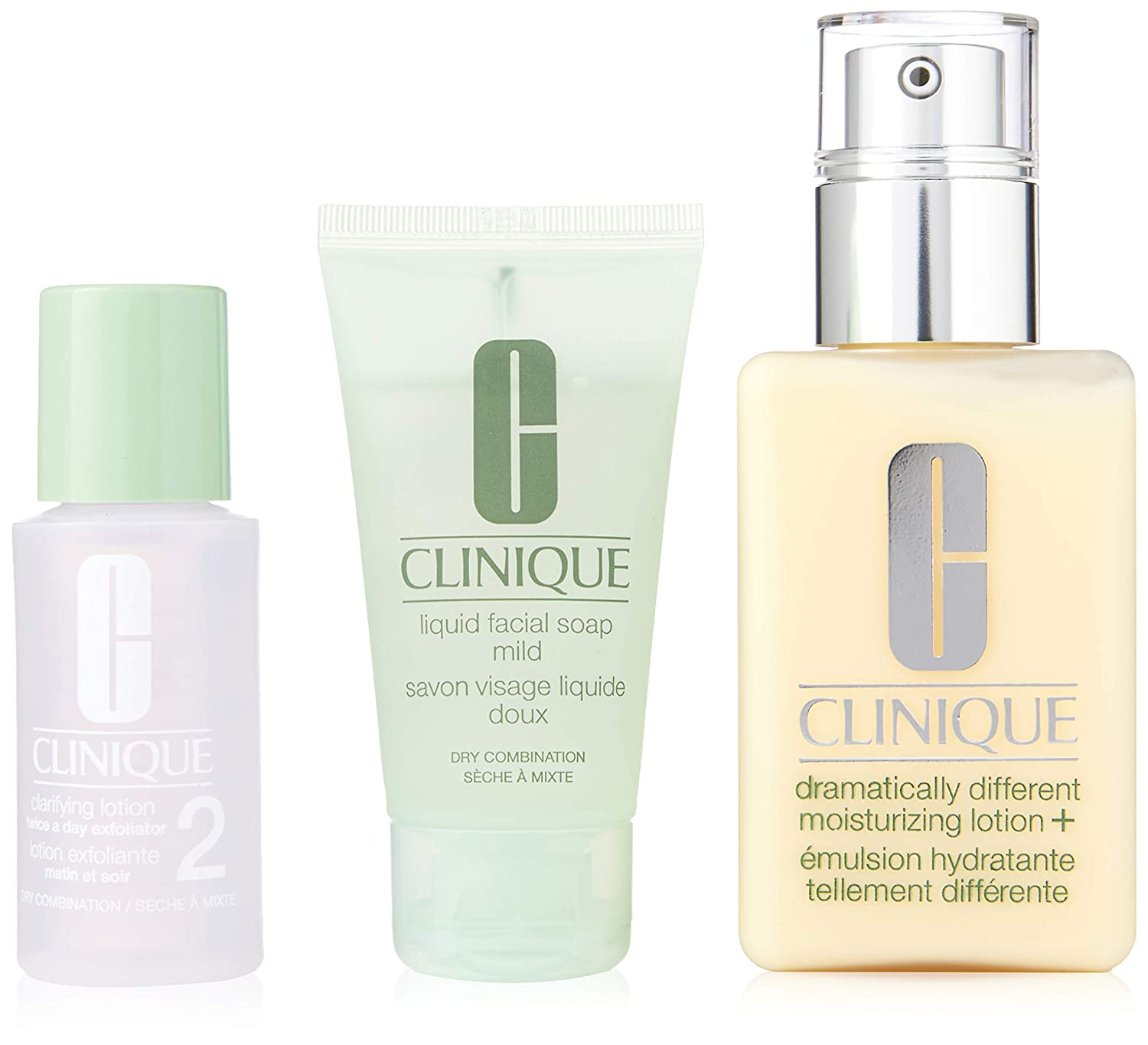 Clinique 3 Piece 3 Step Skin Care Introduction Kit for Unisex, Dry Combination Skin Type