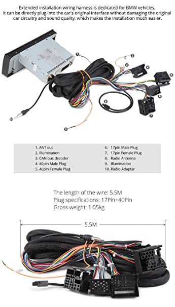 71zT92vEq%2BL._SY606_ amazon com eonon a0577 extended installation wiring harness for,Wiring Harness Bmw Cable 40 Pin Extended Installation