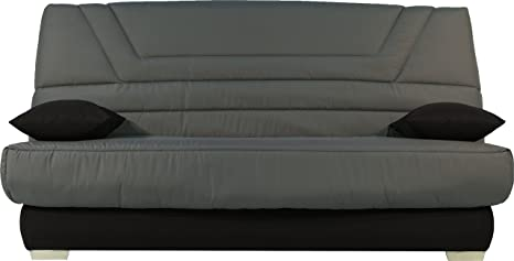 Destock Meubles Banqueta para sofá Cama Tejido Negro colchón 130 x 190 Bultex Espuma HR