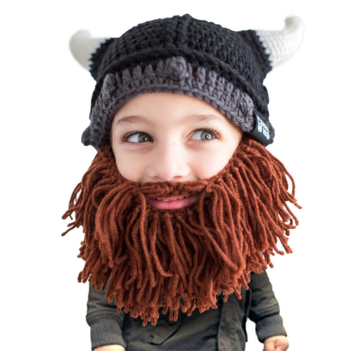 Amazon.com  Beard Head Kid Viking Beard Beanie - Horned Hat and Fake Beard  for Kids Toddlers Black  Clothing 0646f7d160a