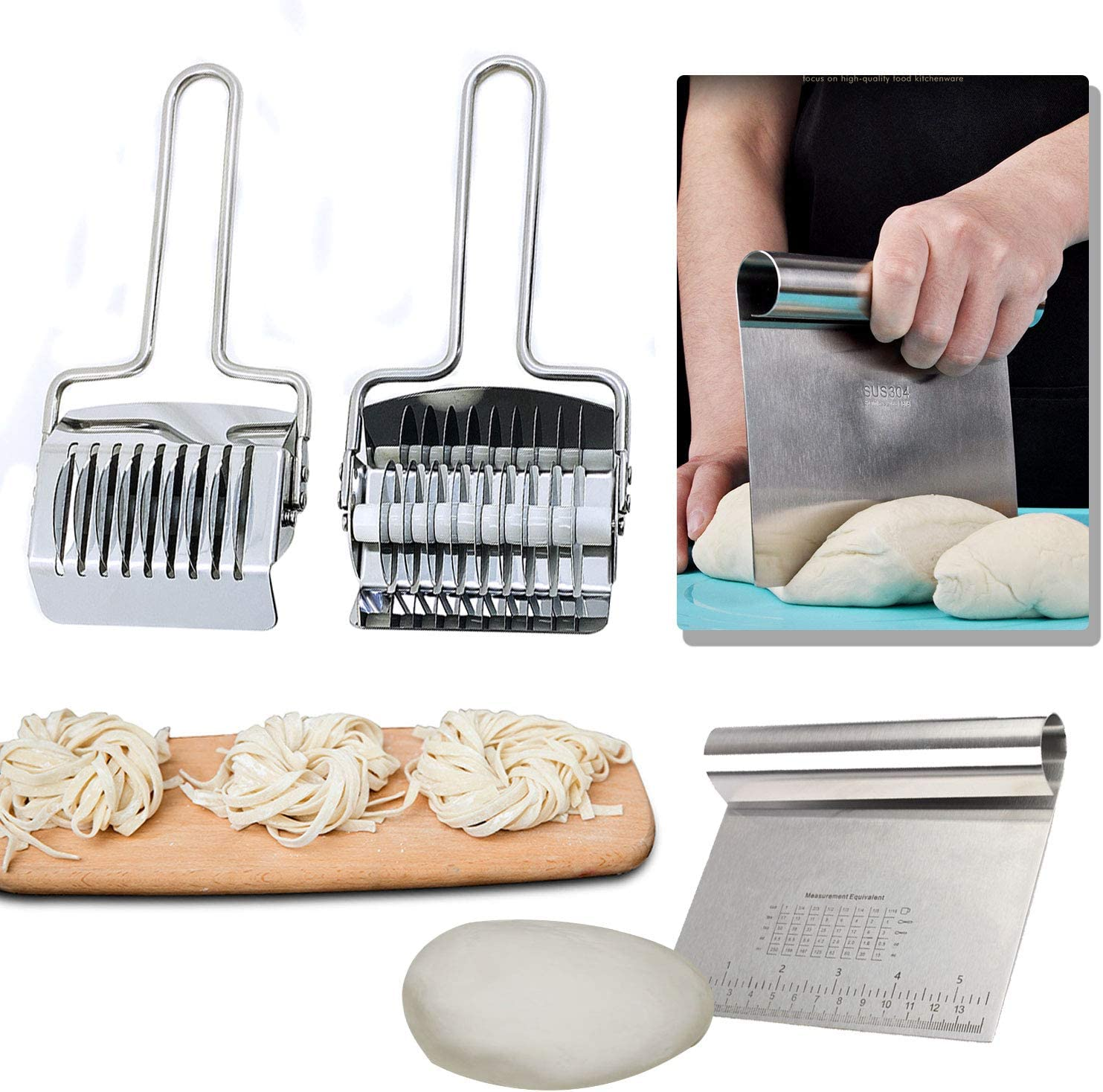 Stainless Steel Bench Scraper and Noodle Cutter, Kitchen Chopper Noodle Lattice Roller Pasta Spaghetti Maker Dough Pizza Pastry Cake Food Cutters' Tool