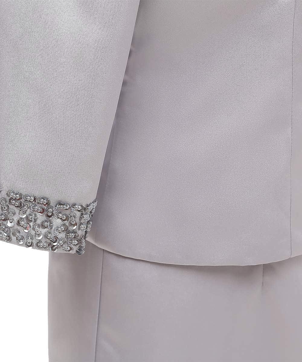 Pretygril Frauen 2 St/ücke Elegantes Satin Kleid f/ür die Brautmutter mit Jacke