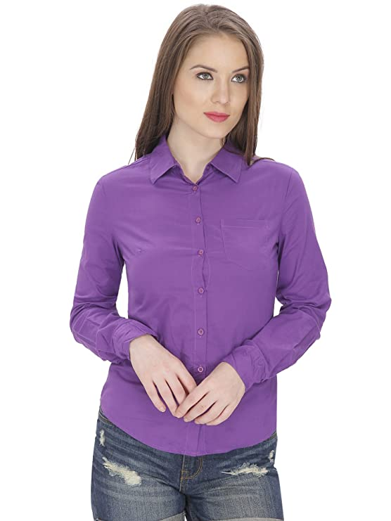 MansiCollections Women's Cotton Solid Formal Shirt  Purple  Women's Blouses   Shirts