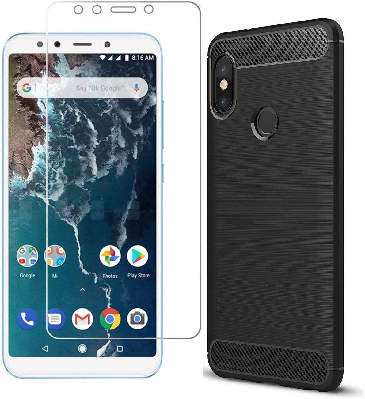 2 en 1] MYLBOO Estuche Xiaomi Mi A2 Soft Tpu (Negro) + protector de pantalla de vidrio templado: Amazon.es: Electrónica