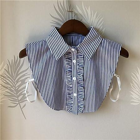 Hunpta@ Collar Falso, 1 Paquete de Blusa con Botones de Rayas ...