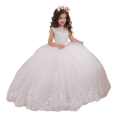 Lilis Flower Girls Prom Dresses Vintage Lace Embellished Girls Communion Dresses 2-12 Year Old