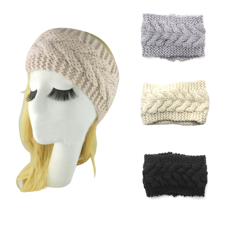 Bestjybt Women Knitted Stretch Twist Headband Turban Hair Band Head Wrap Headwear (3 Pairs-Style B)