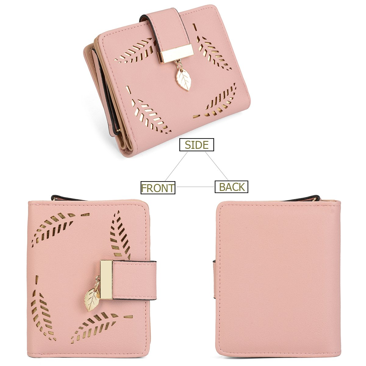 Women's Short Leather Wallet Leaf Bifold Card Coin Holder Small Purses Buckle Zipper Clutch,Pink-by Vodiu by vodiu (Image #2)