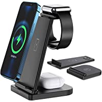 Wireless Charger,FDGAO 3 in 1 15W Fast Qi Wireless Charger Station Detachable,Upright Charging Stand for iPhone 12/11/XR…