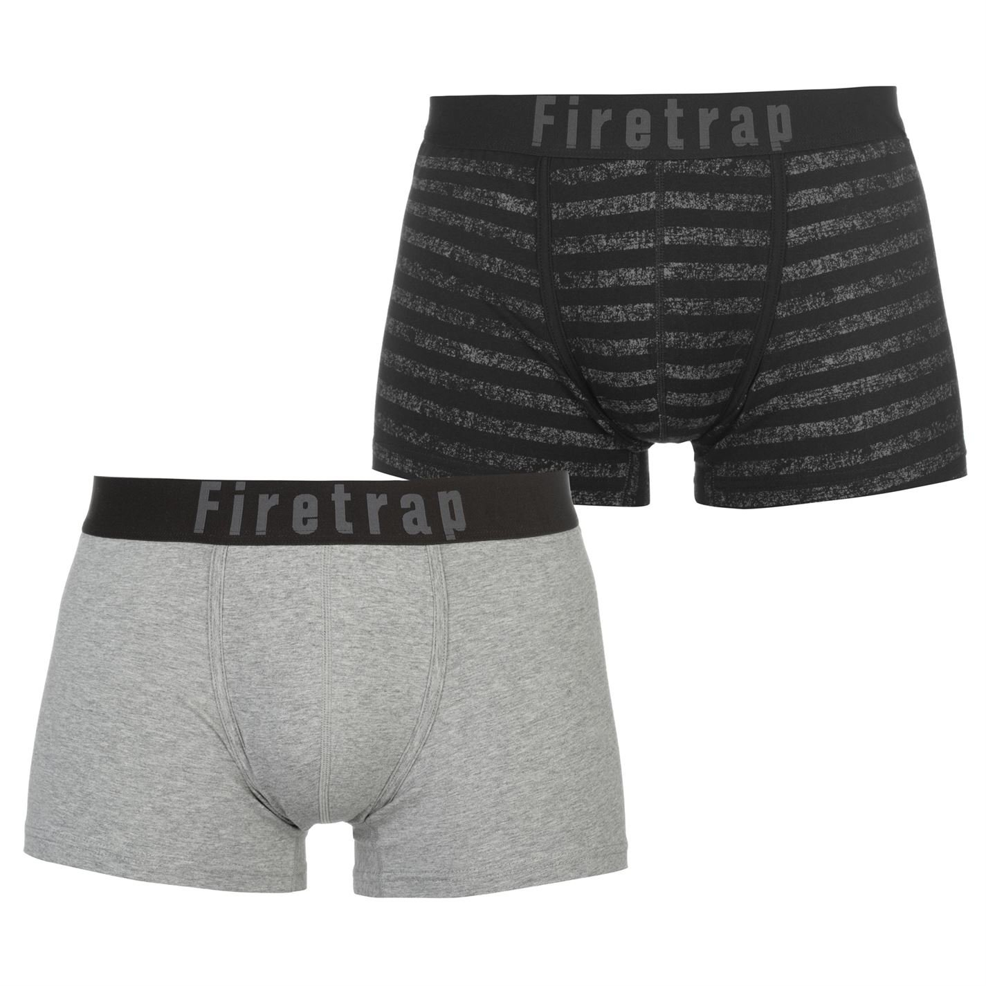 Firetrap Mens Boxers Trunks 2 Pack Underwear Comfortable Fit