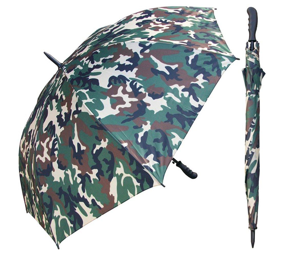 60インチ迷彩傘 – 自動オープンボタン – ファイバーグラスリブとブラックメタルシャフト – 防風Stick Umbrellas   B07D435C1P