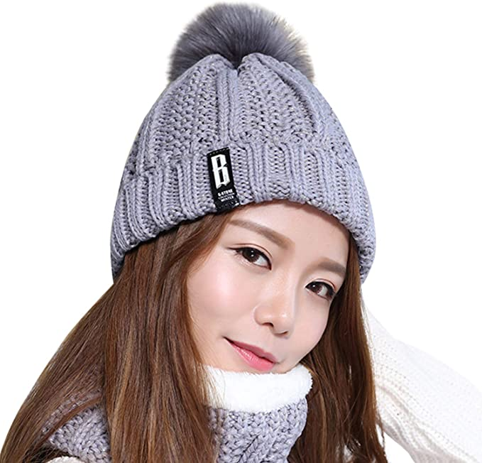 Frauen Beanie Infinity Schal Set Kappe Einfarbig Strick Pompon Winter Haben Frauen Knit Beanies