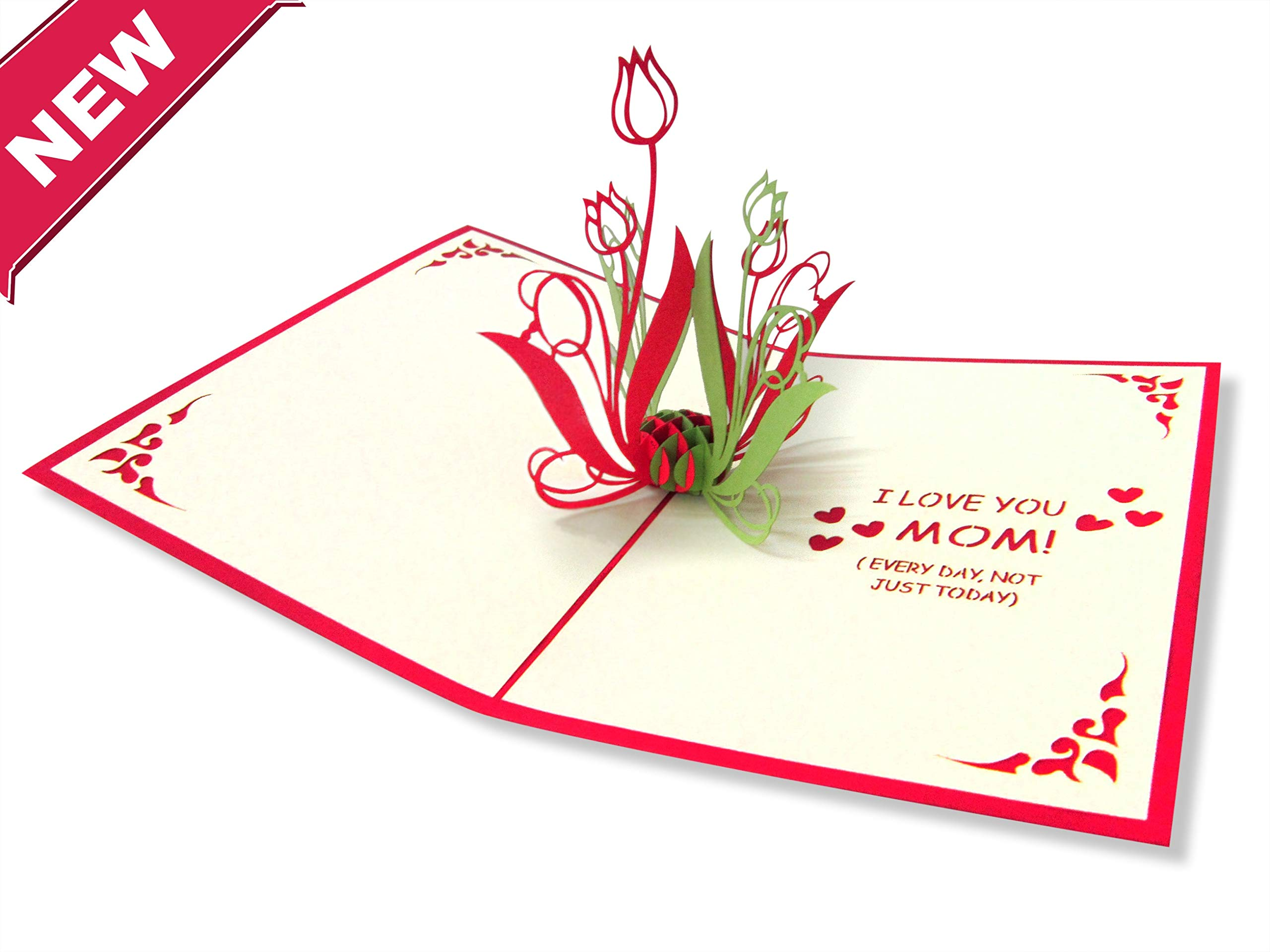3D Cards Pop Up Flowers Tulips Love Mom Birthday Card
