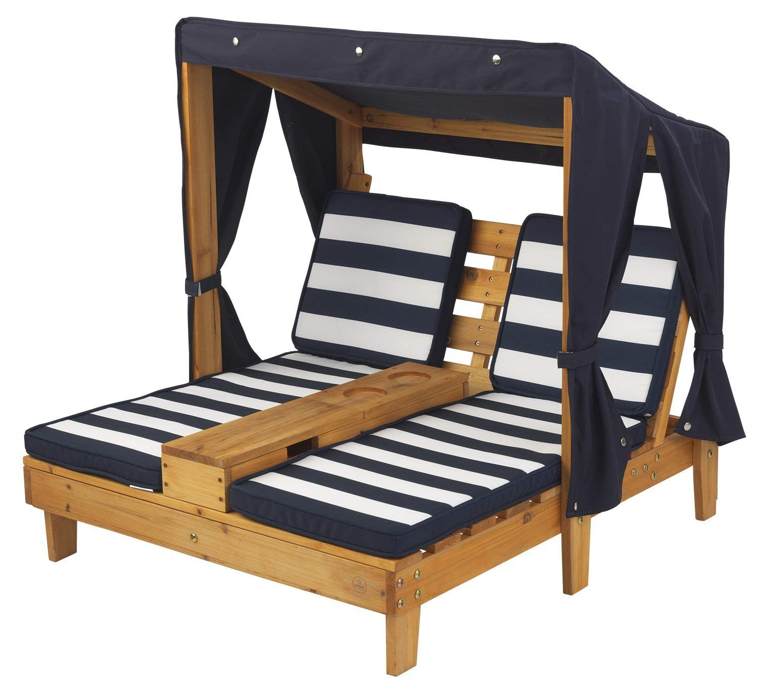 KidKraft Outdoor Double Chaise Lounge, Honey/Navy/White, One Size
