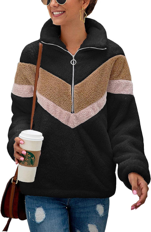 LAMISSCHE Womens Fuzzy Fleece Pullover Long Sleeve Half Zipper Sweatshirt Casual Loose Color Block Outwear Coat
