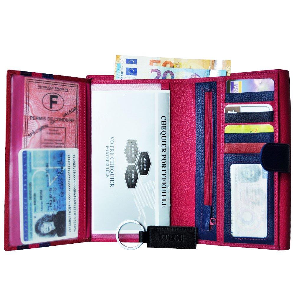 18b5c85eed049 CHARMONI - Compagnon de voyage tout en un porte chéquier Portefeuille 3  volets 13 cartes, porte monnaie ...