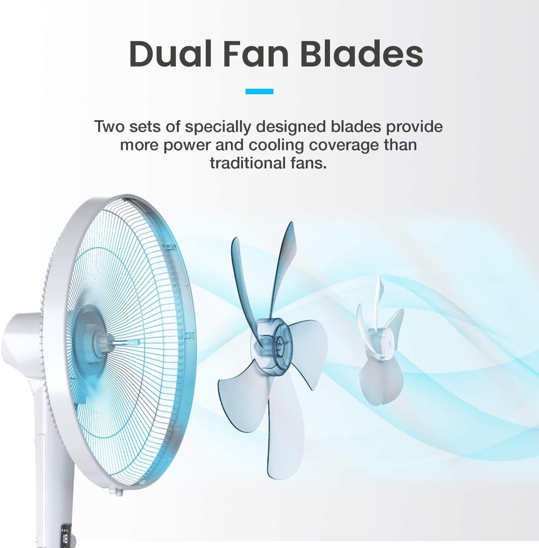 Pro Breeze Ventilador de Pedestal DC 40 cm Cuchillas Dobles ...
