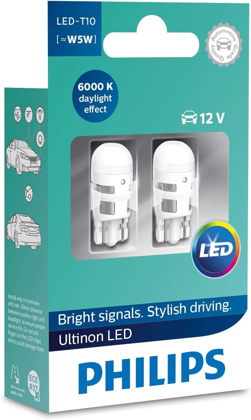 Philips 11961ULWX2 LED T10 foco de señalización para automóvil (W5W), 6.000K, blanco, Set de 2