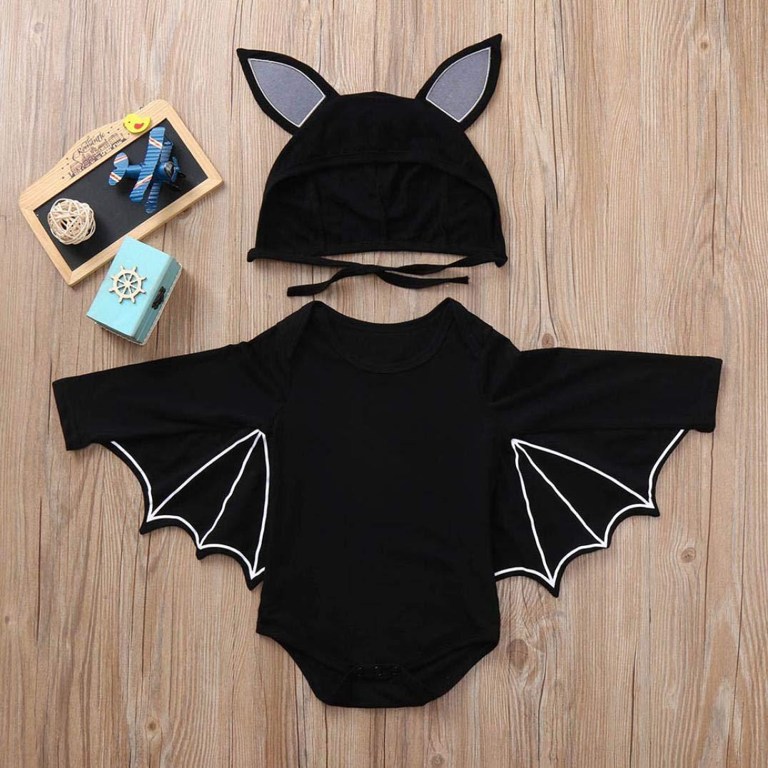 DEELIN Halloween Cosplay Bat Sleeve Romper + Cartoon Ear Hat NiñO ReciéN Nacido Baby Boy Girl Halloween Cosplay Traje Jumpsuit Hat Costume Negro: Amazon.es: ...