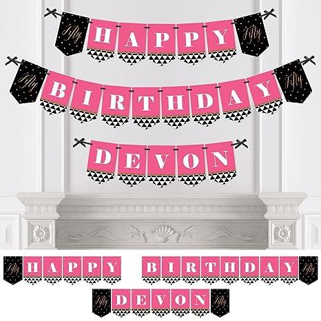 amazon com custom chic 50th birthday pink black and gold