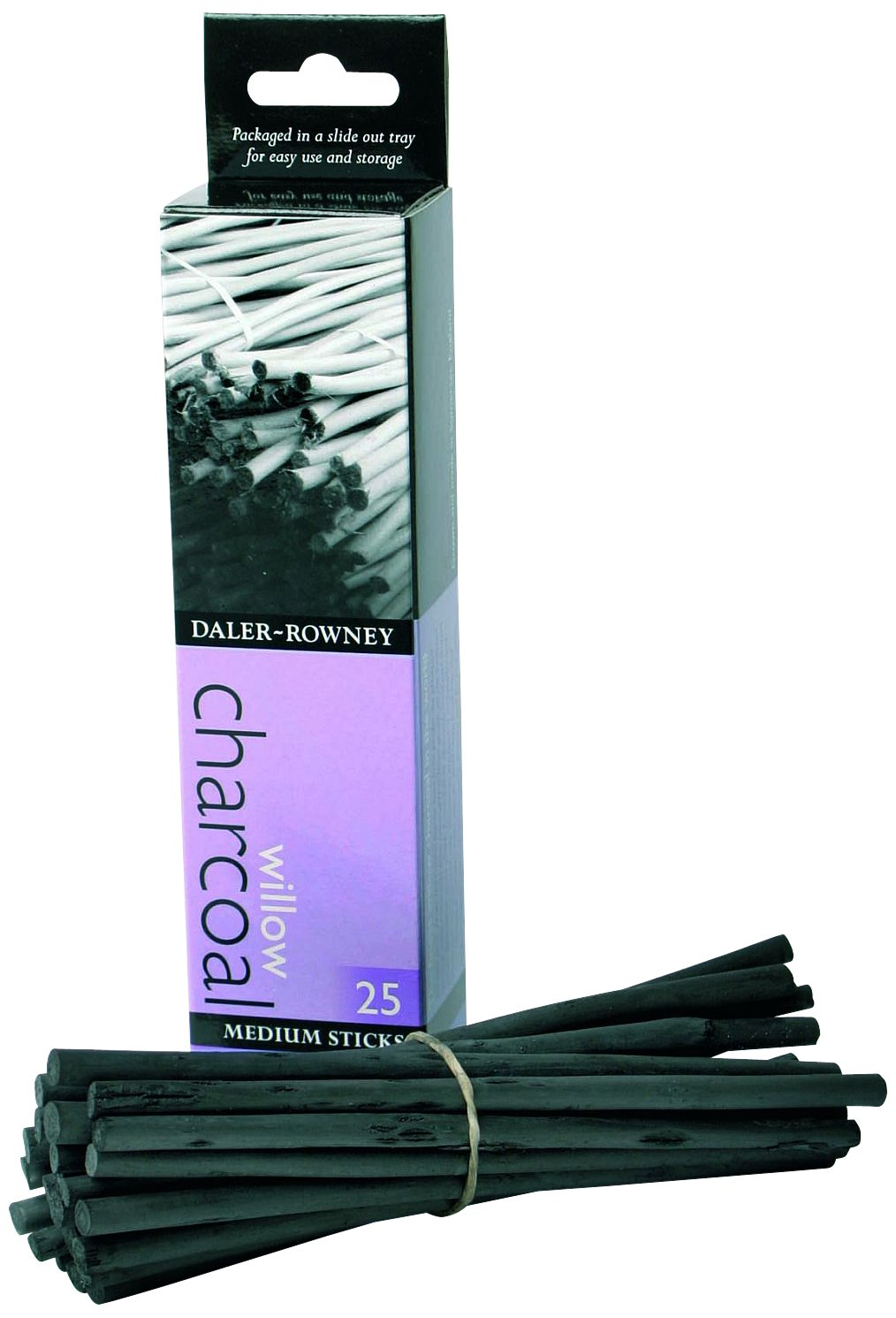 Daler Rowney : Willow Charcoal : 25 Sticks : Medium 808020025