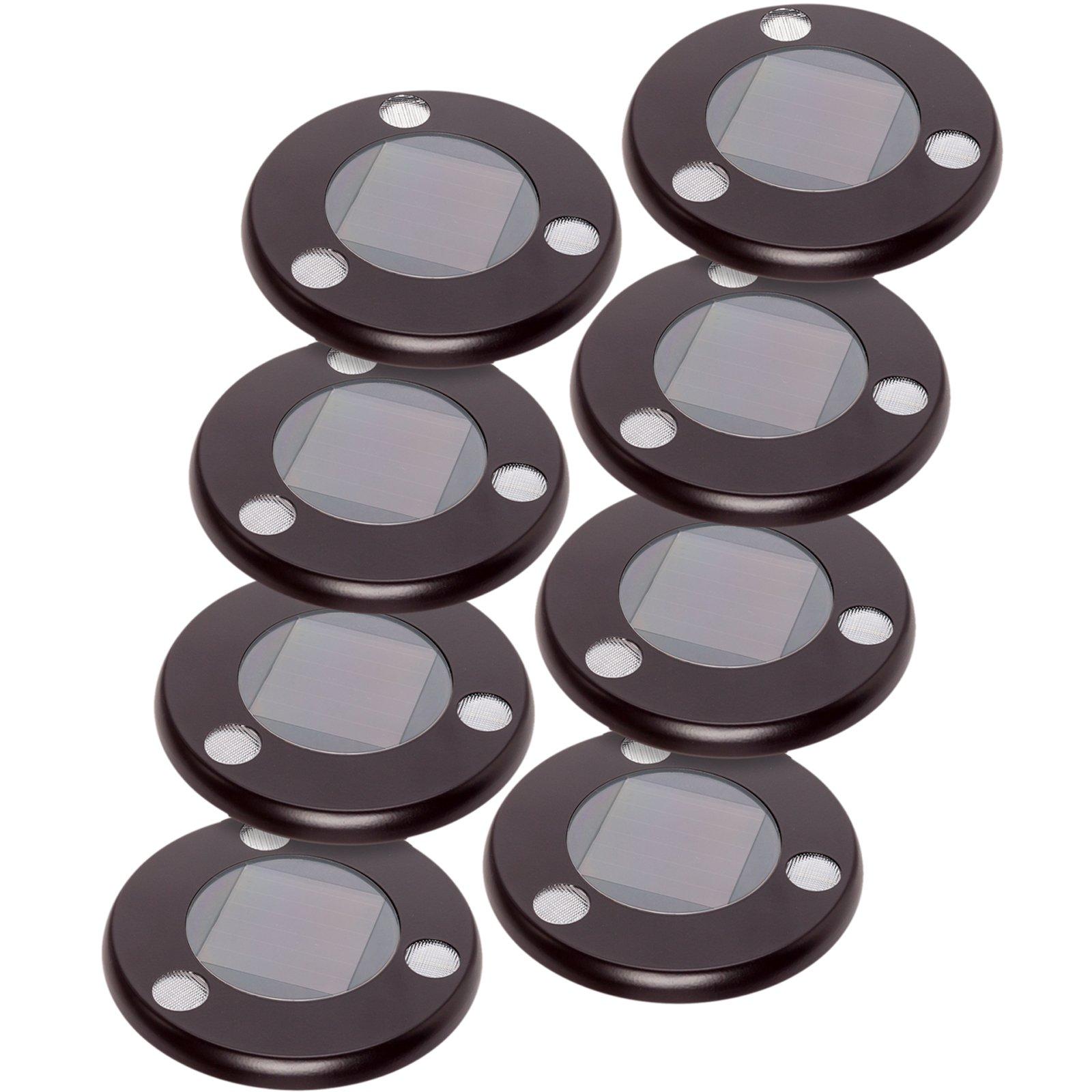 GreenLighting Solar Flat In-Ground Driveway Light Set 8 Pack (Remington Bronze)