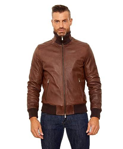 91c8f759b Amazon.com: Men's Italian Leather Bomber Jacket Brown: Handmade